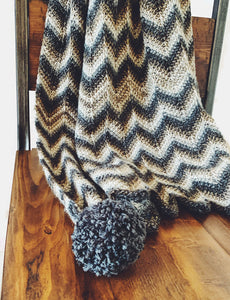 Tunisian Crochet Chevron Throw with Pom Poms