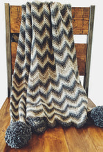 Load image into Gallery viewer, Tunisian Crochet Chevron Throw with Pom Poms