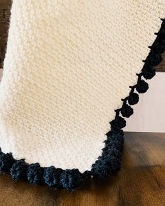 Crochet Baby Blanket Pattern with Bobble Edging