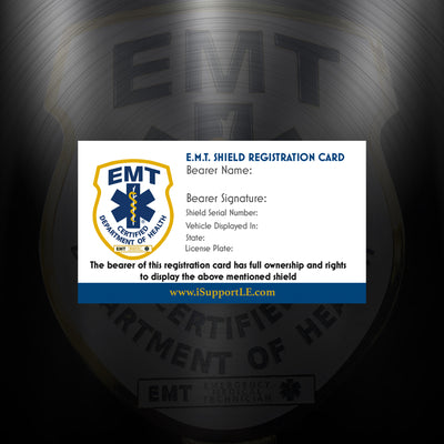 Certified E.M.T Windshield Badge