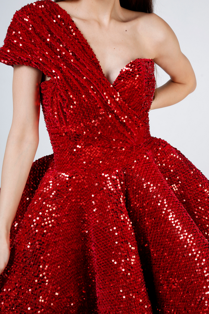 Red Sequin Midi Gown