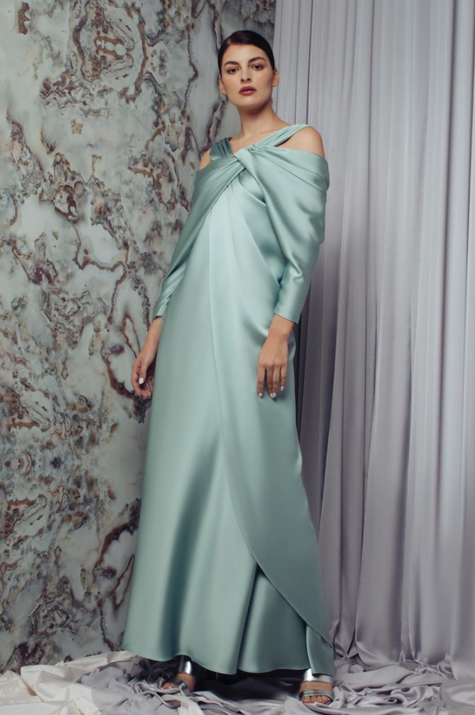 Hanna Draped Sleeve Overlap Dress