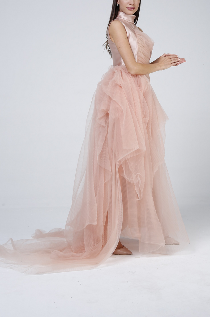 Sleeveless Layered Tulle Gown