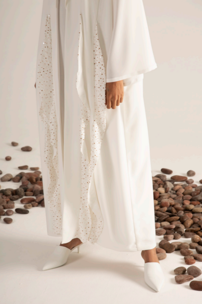 Parallel Layered Abaya with Beads