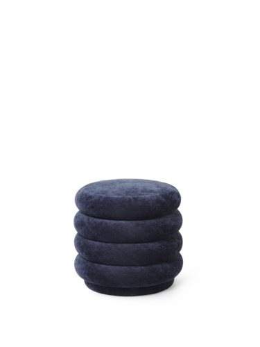 FERM LIVING | Pouf Round - Faded Velvet Ocean - Small