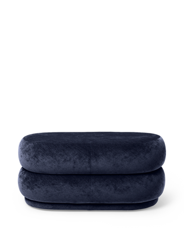FERM LIVING | Pouf Oval - Faded Velvet Ocean - Medium