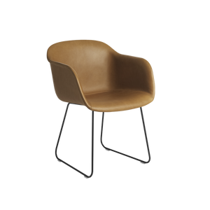 MUUTO | Fiber Armchair - Sled Base - Leather Seat (Black & Cognac Leather Available)