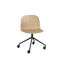 Load image into Gallery viewer, MUUTO | Visu Wide Chair - Swivel With Castors - Wood Seat (Oak/Black)