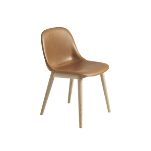 MUUTO | Fiber Side Chair - Wood Base - Leather Seat (Multiple Colours Available)