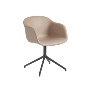 MUUTO | Fiber Armchair - Swivel Base - Leather Seat (Multiple Colours Available)