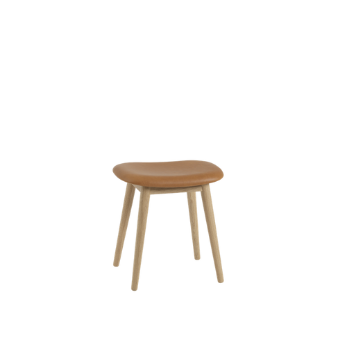 MUUTO | Fiber Stool - Wood Base - Leather Seat (Multiple Colours Available)