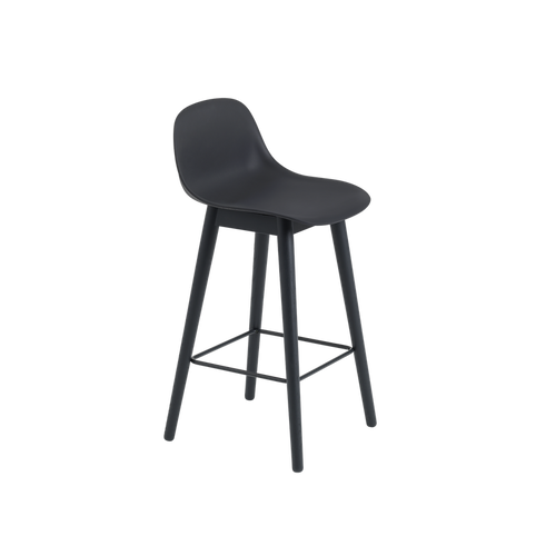 MUUTO | Fiber Bar Stool - Wood Base - 65cm with Backrest (Multiple Colours Available)