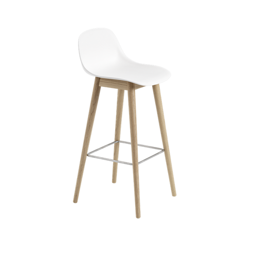 MUUTO | Fiber Bar Stool - Wood Base - 75cm with Backrest (Multiple Colours Available)