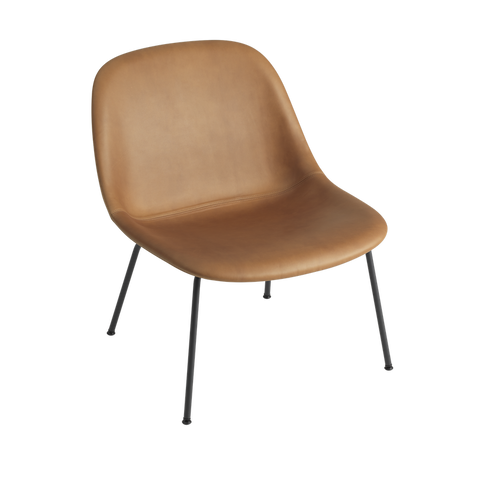 MUUTO | Fiber Lounge Chair - Tube Base - Leather Seat (Cognac Refine Leather/Black)