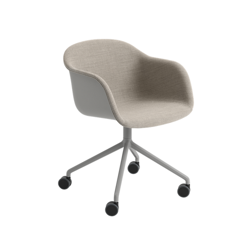 MUUTO | Fiber Armchair - Swivel Base With Castors - Textile Seat (Grey/Remix 242)