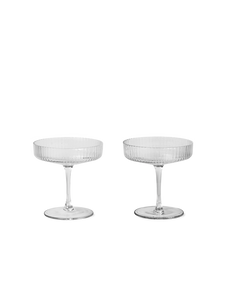 FERM LIVING | Ripple Champagne Saucers (Set Of 2) - Clear
