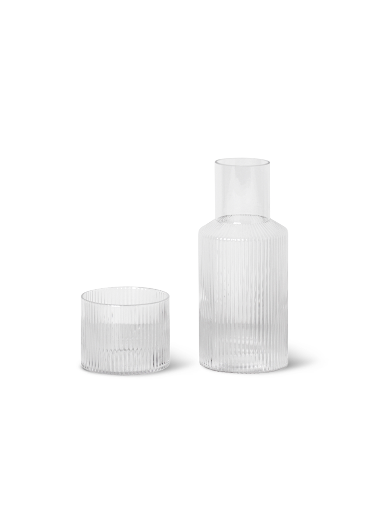 FERM LIVING | Ripple Glass & Carafe Set - Small - Clear (Ex Display - New without box)