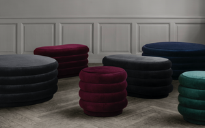 FERM LIVING | Pouf Oval - Faded Velvet Mokka - Medium