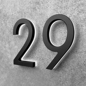 "LUMINOSO LIGHTING | Modern 3"" LED Illuminated Backlit House Numbers (Outdoor/Indoor)"
