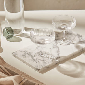 FERM LIVING | Ripple Champagne Saucers (Set Of 2) - Clear (New Without Box)