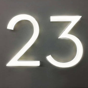 "LUMINOSO LIGHTING | Modern 10"" LED Illuminated Frontlit House Numbers (Outdoor/Indoor)"