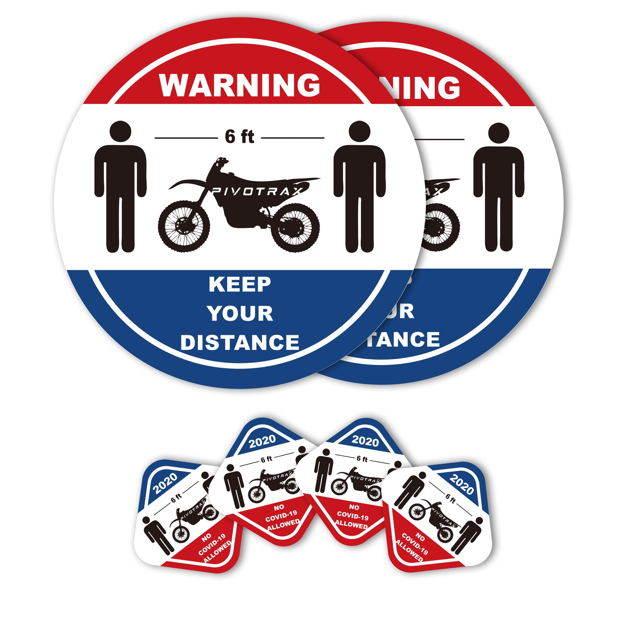 PIVOTRAX Waterproof Vinyl Stickers Package (2 Big Social Distancing Six Feet Sign Floor PVC Decals/Stand Here Floor Stickers and 4 Small Stickers)