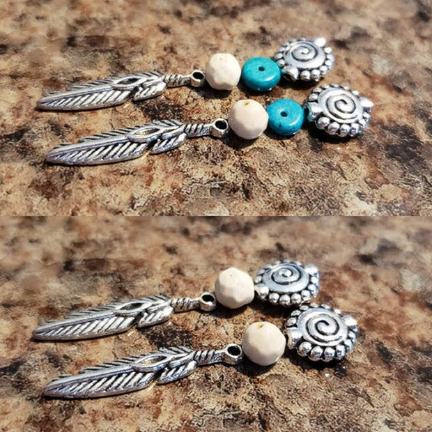 Southwest Silver Feather Dangle Turquoise and Silver Earrings