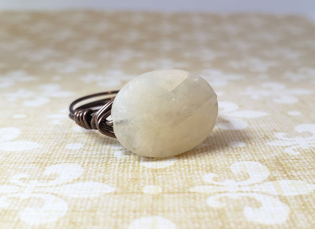 Beige Oval Quartz Handmade Ring