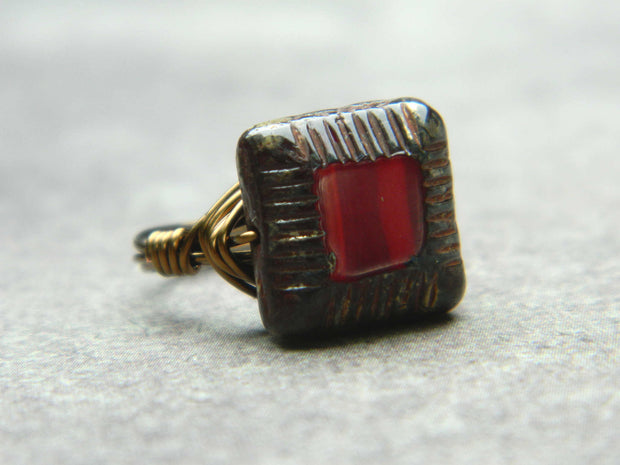 Dark Red Ring. Jewelry Rings. Red Czech Handmade Ring, Scarlet Red Oxblood Burgundy Ring.