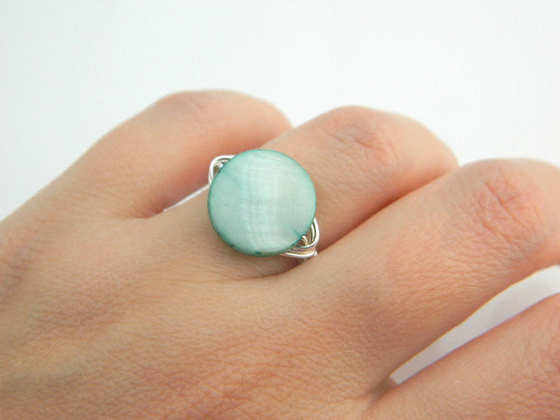 Mint Mother of Pearl Handmade Ring