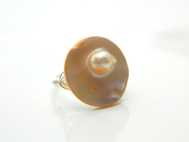 Mother of Pearl Ring. Beige Ring. One of a Kind Ring. Ivory Shell Ring. Unique Ring. Jewelry Rings