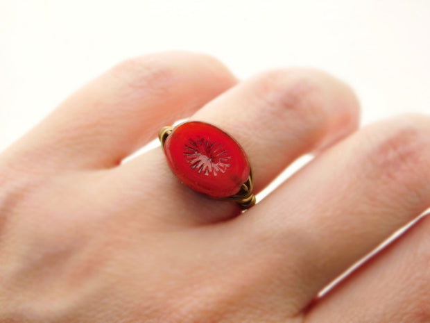 Dark Red Czech Oval Handmade Wire Wrapped Ring