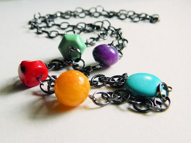 Colorful Long Necklace. Mix of Colors Handmade Necklace