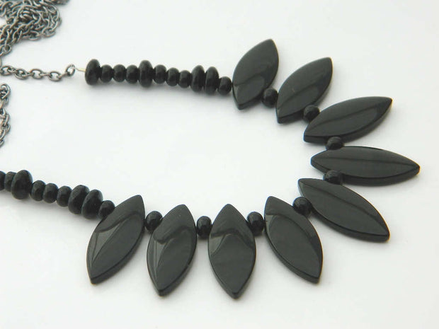 Black Drops Handmade Bib Necklace