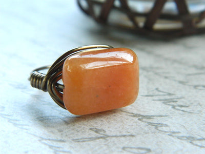Red Aventurine Ring. Jewelry Rings, Brown Copper Ring. Dark Orange Rustic Rings, Topaz Ring