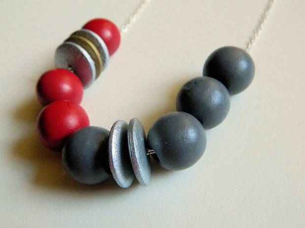 Red and Grey Wood Necklace. Tribal Necklace. Bib Necklace, Red and Grey Geometry Beads Necklace
