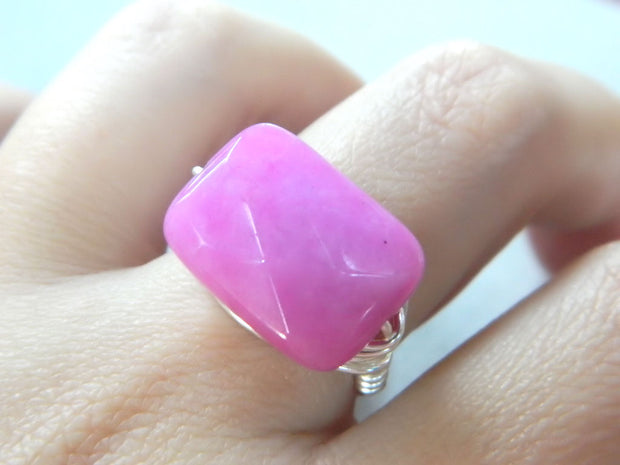 Hot Pink Jade Handmade Ring