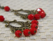 Red and Brass Dangle Earrings