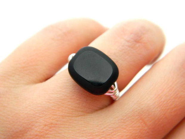 Black Jet Matte Edge Glass Handmade Ring.