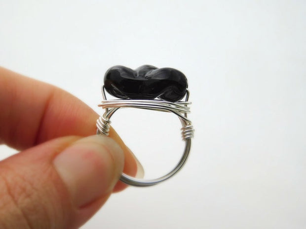 Black Czech Glass Bead Wire Wrapped Handmade Ring