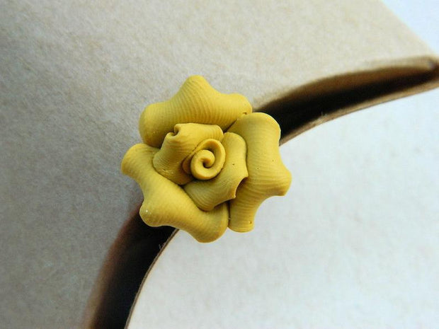 Mustard Flower Ring. Jewelry Rings. Rustic Brown Rose Ring. Bridesmaid Gifts. Handmade Rings
