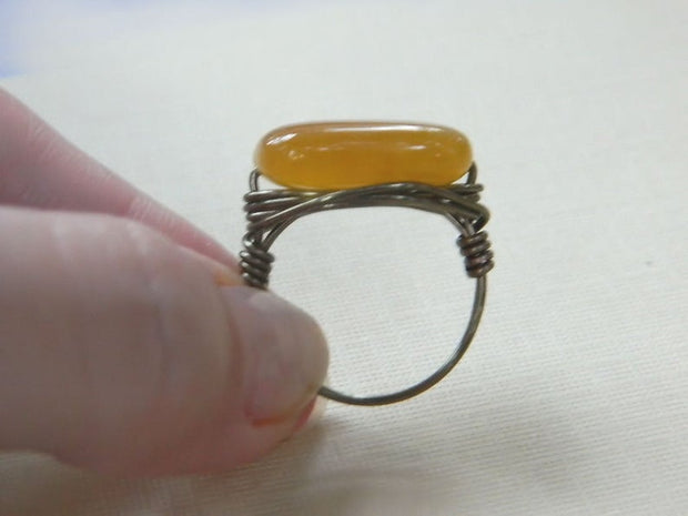 Yellow Agate Gemstone Wire Wrapped Handmade Ring