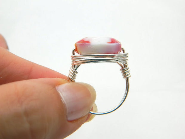 White and Red Oval Glass Ring. Handmade Ring. Oval Red Unique Ring. Two Colors Ring. Jewelry Rings,