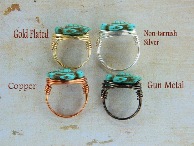Turtle Turquoise Ring. Kids Turquoise Ring. Bohemian Jewelry, Aqua Ocean, Sea, Brown, Boho Rings