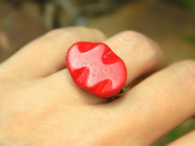 Howlite Red Ring. Red Curved Oval Bead Ring. Red Rustic Big Ring. Red Fashion Ring. Jewelry Rings