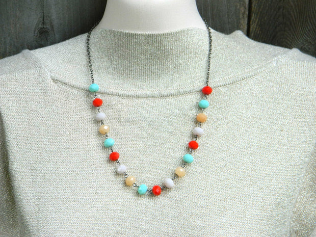 Color Blocking Necklace, Colorful Beaded Necklace, Bib Necklace, Boho Necklace, Jewelry Necklace