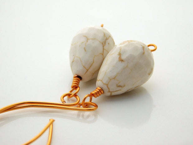 White Turquoise Dangle Copper Earrings