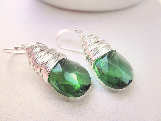 Green Dangle Earrings. Forest Green Drops Earrings. Emerald Earrings. Handmade Earrings