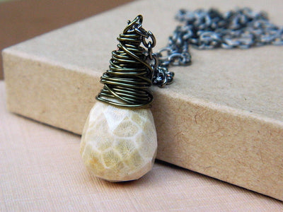 Briolette Jasper Drop Stone Wire Wrapped Necklace