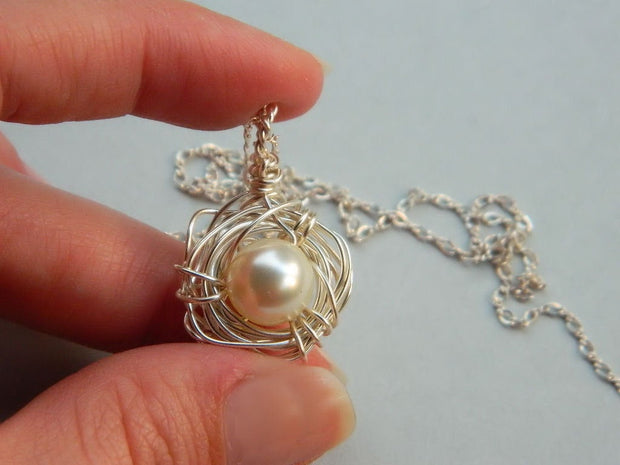 One Child Bird's Nest Necklace. Jewelry Necklace. Pendant Sterling Silver Pearl. OOAK Necklace